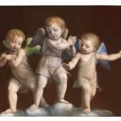 Carlo Orsi-Trinity Fine Art Bernardino Luini (Dumenza, from 1482-Milan 1532) Three Angels on Clouds oil on panel 57.7 x 75.6 cm