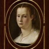 Carlo Orsi-Trinity Fine Art Jacopo Coppi,  called Jacopo Del Meglio (Florence 1546-91) Portrait of a Lady Oil on shaped and carved walnut-wood panel 37 x 29.8 cm (painted oval surface, 26 x 18.5 cm)