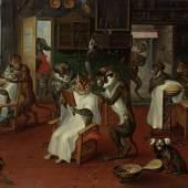 Abraham Teniers Barbierstube mit Affen und Katzen, um 1647/48 Öl auf Kupfer, 24 x 31 cm Kunsthistorisches Museum Wien