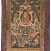 Thangka des Buddha Amitabha im westlichen Paradies Tibet, 18. Jh. Darstellung des Buddha Amitabha. Schätzpreis:1.500 - 2.000 CHF
