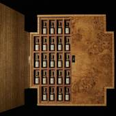 The Macallan Fine and Rare Miniature Bottles, 43%, 46 in total To be offered in an exclusively commissioned lockable wall-mounted cabinet, designed by British craftsman James Laycock Estimate £55,000-88,000 / $65,000-100,000