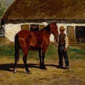 Thomas Herbst, Bauer mit braunem Pferd, 1875, Öl auf Karton, Seibt Collection