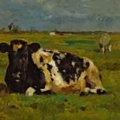 Thomas Herbst, Schwarz-weiß liegende Kuh, ohne Datierung, Öl auf Karton, Seibt Collection
