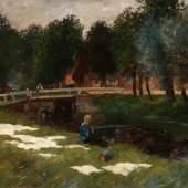 Thomas Herbst, Wäschebleiche in Siethwende, 1906, Öl auf Leinand, Sammlung Sandro und Uta Bendig