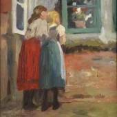 Thomas Herbst, Zwei Mädchen vor dem Fenster, ohne Datierung, Öl auf Holz, Sammlung Mauss