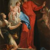 Giovanni Battista Tiepolo Venice 1696 - 1770 Madrid Madonna of The Rosary with Angels Signed and dated on the pedestal: JOA. BATTA:  TIEPOLVZ.F. / ...1735  oil on canvas 96¾ by 61½ in.; 246 by 156 cm. Estimate in excess of $15 million