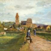 """Tina Blau """"Blick auf Perchtoldsdorf"""" Öl auf Holz, signiert, bezeichnet u. datiert 1895 17,8 x 26,8 cm Galerie Szaal"""