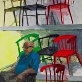 Tirtzah Bassel, Ikea/ Chairs 2014, Acryl auf Leinwand, 152,5 x 183 cm Courtesy Galerie Thomas Fuchs, Foto: Damon Bundschuh
