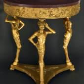 Tisch, Bronze feuervergoldet  Tisch, Bronze feuervergoldet ,  wohl Frankreich um 1820,  H 82cm Durchmesser 74cm,  Platte Porphyr  Kunsthandel Brigitte Martini,  Stand Nr. 23