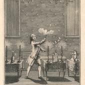 Titelkupfer zu Henri Decremps 'La Magie blanche dévoilée', Der 'Experimentalphysiker' Pinetti, 1784, Sammlung Peter Rawert