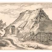 Boëtius Adamsz. Bolswert (um 1585-1633) nach Abraham Bloemaert (1564-1651) Bauernhütte mit Staffage, 1613 Kupferstich Privatbesitz Foto: Tiroler Landesmuseen