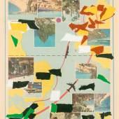 Franz West, Klebestreifen auf Prospekt, 52 x 34 cm, Rufpreis € 7.000