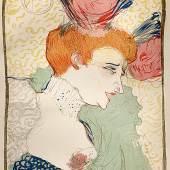 Mademoiselle Marcelle  Henri de Toulouse-Lautrec,  Mademoiselle Marcelle,  original achtfarbige Lithographie von 1895,  mit Monogramm auf Vèlinpapier,  Format ca. 33x24,5 cm  Kunstkabinett Strehler,  Stand Nr. 07