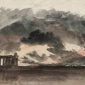 William Turner Paestum in a Thunderstorm aus der Aquarellfolge Liber Studiorum (Little Liber), um 1825 The Tate Gallery, London, Digital Image © Tate, London 2010