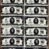 Andy Warhol (1928–1987) Two Dollar Bills (Fronts) (40 Two Dollar Bills in Red), 1962 Siebdruckfarbe, Acryl und Bleistift auf Leinwand 210.8 x 48.3 cm Sammlung Froehlich, Stuttgart Photo: Sammlung Froehlich, Stuttgart