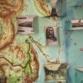 Ulrike Ottinger, Landkartenobjekt mit Zeichnungen und applizierten Postkarten. Floating Food, 2011. Details aus / from Diamant Dance, 2015. Mixed media installation (photographs, videos, framed Postcards, artist books, printed curtains), approx. 265 x 1200 x 400 cm © Ulrike Ottinger