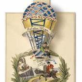 Glückwunschkarte mit Zug- und Hebelmechanismus, 1815/1820 9 x 7 cm © Wien Museum