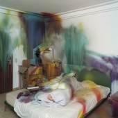 Katharina Grosse, untitled, 2004,  Ausstellungsansicht, Düsseldorf, Acryl auf Wand, Boden und verschiedenen Materialien, 280 x 450 x 400 cm Foto: Nic Tenwiggenhorn