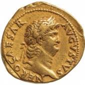 Abb. 2 Nero Vs.: Büste des Nero Rs.: Tempel der Vesta (wohl beim Brand Roms zerstört und erneuert) Aureus (Gold), geprägt 65–66 n. Chr. in Rom © KHM-Museumsverband