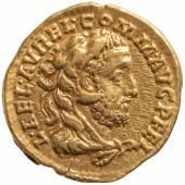 Abb. 5 Commodus Vs.: Büste des Commodus mit dem Löwenfell des Herkules Rs.: Commodus als Herkules bei der rituellen Neugründung Roms Aureus (Gold), geprägt 192 n. Chr. in Rom © KHM-Museumsverband