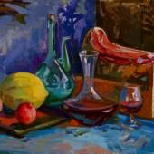 Valentsov Vladimir, Still Life with Prosciutto, 2006, Öl a. Lw., 30 x 110 cm, Sonderschau M.Video - ART Innsbruck 2014