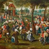 MARTEN VAN CLEVE D. Ä.  Bauernhochzeit im Freien.  Öl auf Holz. 77 × 107,5 cm.  Schätzung: CHF 150 000/250 000  Ergebnis: CHF 269 000