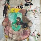VARLIN (WILLY GUGGENHEIM) Recto: Hund auf dem Sessel. 1958. Verso: Mädchen auf dem Schaukelpferd. 1958. Öl und Kohle auf Leinwand. Recto und verso bemalt. 210 x 165 cm. CHF 50 000 / 80 000