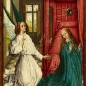 """Niederländischer Meister um 1460/70 """"Verkündigung Mariens"""" Öltempera auf Holz. 37,5 x 25,5 cm. Ergebnis: € 120.000"""