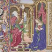 Erzengel Gabriel überbringt Maria die frohe  Botschaft Stundenbuch Florenz, Anfang 16. Jh. (c) onb.ac.at