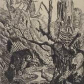 Otto Dix, Verlassene Stellung bei Neuville, aus dem Radierzyklus Der Krieg, 1924, Radierung, Kupferstich-Kabinett, copyright: VG-Bildkunst Bonn, 2014