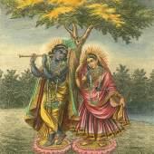 Krishna und Radha (1.1 MB) Indien, 19. Jh. Papier, H. 430 mm, B. 330 mm © KHM mit MVK und ÖTM