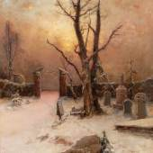 VON KLEVER, Julius Sergius: Winter scenery (oil/canvas with cyrillic signature, 1909, 1 small restored spot with back bonding). Mindestpreis:	15.000 EUR