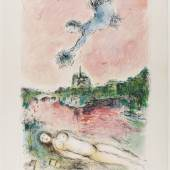 Farblithografie 'Vue sur Notre-Dame' von Marc Chagall