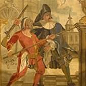 Pantalone und Doctor Baloard – zwei Figuren der Commedia dell'arte. Detail der von der Schlösserverwaltung neu erworbenen Tapisserie aus der Manufaktur Würzburg, Andreas Pirot, um 1749/50.