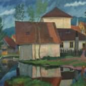 WACKER, Rudolf 1893 -1939 Häuser am Bach 1925 € 50.000 – 70.000
