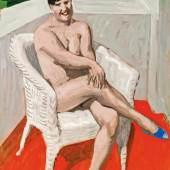 """Alfons Walde: """"Sitzende mit blauem Schuh""""     Fotocredit: Auktionshaus im Kinsky"""