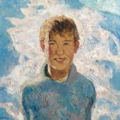 """Alfons Walde (1891 – 1958) , """"Knabe im Schnee"""", Öl auf Leinwand, signiert, um 1925, 60 x 54,5 cm (c) Wikam"""