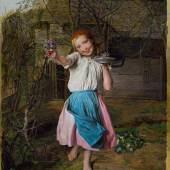 Waldmüller_Ferdinand Georg, Das Veilchenmädchen, Öl auf Holz, 57,5x42,5cm, 1865, 130.000-250.000 Euro