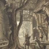"""Bildtitel: Joseph Hoffmann (1831-1904) """"Siegmund den Wälsung siehst Du, Weib"""" (""""Walküre"""" 1. Akt) zwischen 1878 und 1885, Gouache auf Papier Museumsstiftung zur Förderung der Staatlichen Bayerischen Museen / Sammlung Oppel"""