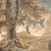 """Bildtitel: Joseph Hoffmann (1831-1904) """"Loge! Loge! Hierher!"""" (""""Walküre"""" 3. Akt, """"Feuerzauber"""") zwischen 1878 und 1885, Gouache auf Papier Museumsstiftung zur Förderung der Staatlichen Bayerischen Museen / Sammlung Oppel"""