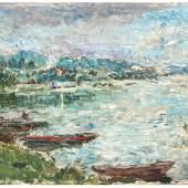 Walter Bodmer (1903-1973), Flusslandschaft, o. J., Öl auf Leinwand, 38 x 61 cm