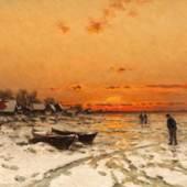 Walter Moras: Sonnenuntergang im Winter, um 1888, Öl auf Leinwand, 240 x 380 mm