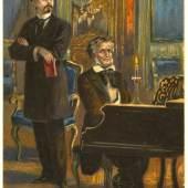 Die Postkarte aus der Zeit um 1910 zeigt König Ludwig II., der Richard Wagner am Flügel lauscht – ein mehrfach auf Postkarten verbreitetes Motiv (© Haus der Bayerischen Geschichte, Augsburg)