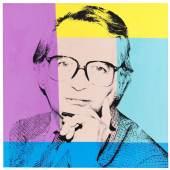 Andy Warhol Porträt von Karl Ludwig Schweisfurth, 1980 Öl- und Siebdruckfarben auf Leinwand, 102 x 101,5 cm Aufruf: 80.000 € Ergebnis: 97.600 € Leihgabe aus Privatbesitz