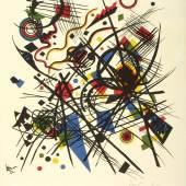 Wassily Kandinsky Lithographie für die vierte Bauhausmappe, 1922 Blatt 8 (von 11) der Vierten Bauhausmappe: Italienische und russische Künstler, 1923 Farblithografie auf Velinpapier 27,5 x 23,5 cm