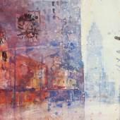 Heribert Mader (geb. 1937 in Steyr) New York Times Sqare Aquarell 2000 32x45cm