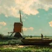Jan Hendrik Weissenbruch, Polderlandschaft mit stakendem Bauern, zwischen 1864 und 1875, Foto: Marten den Leeuw