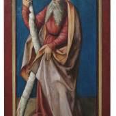 Nürnberg, in der Werkstatt Albrecht Dürers, um 1510, Heiliger Vitus und Heiliger Andreas, Gegenstücke/Flügelaußenseiten aus einem unbekannten Retabelzusammenhang, Mischtechnik/Nadelholz, 123 x 56 cm, Schätzpreis 25.000 €