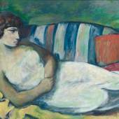 3273  Werner Paul Schmidt (1888 Nauendorf bei Gotha – 1964 München). Liegende Schöne in weißem Kleid. Öl/Holz. 77 x 110 cm. R  Limit 1.400 €  Ergebnis