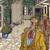 """""""Sänger und Geiger in einem Hinterhof"""", um 1910 Moriz Jung / Wiener Werkstätte Bildpostkarte © Wien Museum"""
